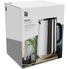 WMF Impulse Stainless Steel Vacuum Flask Tea Coffee 1.0 liters Glass Insert Automatic Closure 24 Hour Cold and Warm