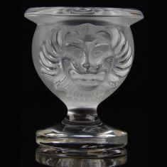 Lalique Frosted Crystal Lions Head