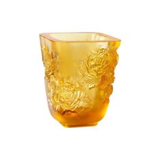 Lalique | Pivoines Vase Small Size Amber Crystal