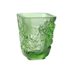 Lalique | Pivoines Vase Small Size Green Crystal