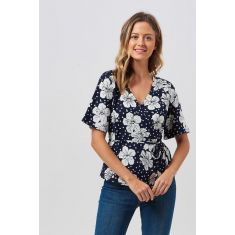 Hawaiian Floral Batik Wrap Top