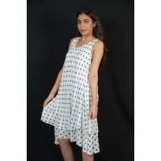Polka dot layered dress - white