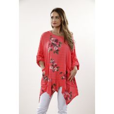 Flower print pocket tunic - coral
