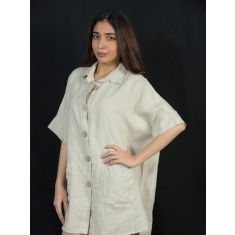 Beige Linen Button down shirt