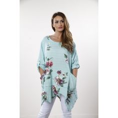 Flower print pocket tunic -  mint
