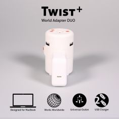 One Adaptr |Twist Wold Adapter Duo |Universal Outlet + 2 USB Chargers
