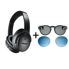 Bose|QuietComfort 35 I Noise Cancelling Headphones + Bose Frames Round Audio Sunglasses + Blue Lenses| Bundle