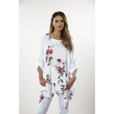 Flower print pocket tunic